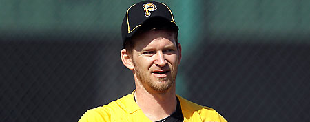 Pittsburgh Pirates' A.J. Burnett practices at baseball spring training, Tuesday, Feb. 21, 2012, in Bradenton, Fla. (AP Photo/Matt Slocum)