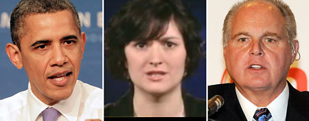 (L-R) President Barack Obama (AP), Sandra Fluke (via GMA), Rush Limbaugh (Getty Images)