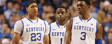 Kentucky Wildcats forward Anthony Davis (23) and guard Darius Miller (1) and forward Terrence Jones (Mark Zerof-US PRESSWIRE)