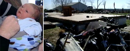 Aedan Praiswater and his family's home after the tornado (WLWT)