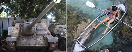 Soviet tank destroyer and see-through canoe for sale online (Mortar Investments/DudeIWantThat.com)