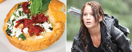 'Hunger Games' recipes; Jennifer Lawrence as Katniss Everdeen (L-R) Murray Close/©Lionsgate/Courtesy Everett Collection; Courtesy of MyRecipes.com)