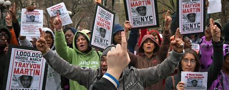 Demonstrators at a protest called A Million Hoodies March in New York's Union Square (Reuters)