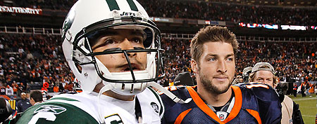 New York Jets quarterback Mark Sanchez (6) and Denver Broncos quarterback Tim Tebow (15) walk off the field together after an NFL football game, in Denver.  (AP Photo/Barry Gutierrez, File)
