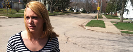 Jordan Pfeiler talks about the mystery booms she's heard in Clintonville, Wis. (AP/Carrie Antlfinger)
