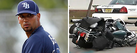 (L-R) Matt Bush (AP) and a the motorcycle he allegedly hit.)