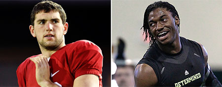 (L-R) Andrew Luck (AP) and Robert Griffin III (AP)