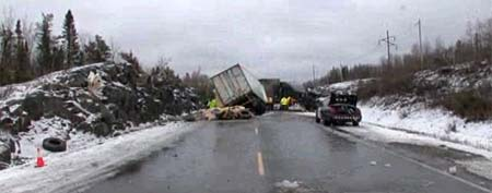 A wreck on an icy road in Ontario (Y! Sports screengrab)
