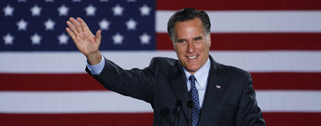 Republican presidential candidate Mitt Romney in Milwaukee. (AP Photo/M. Spencer Green)