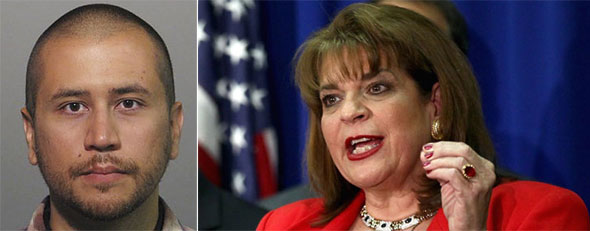 George Zimmerman (AP Photo/Sanford Police Department); State Attorney Angela Corey (Photo by Win McNamee/Getty Images)
