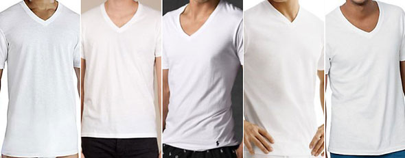 Best men's undershirts (L-R) Courtesy of Fruit of the Loom, American Apparel, Ralph Lauren,Tommy Hilfiger, Hanes