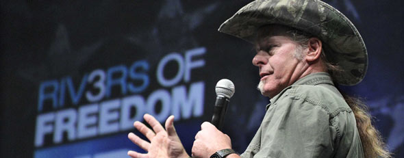 File photo: Musician and NRA member Ted Nugent addresses a seminar at the National Rifle Association's 140th convention in Pittsburgh on Sunday, May 1, 2011. (AP Photo/Gene J. Puskar)