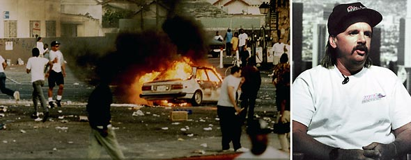 L-R: A car burns as looters take to the streets at the intersection of Florence and Normandie on April 29, 1992. (Photo by Steve Grayson/WireImage); Reginald Denny (AP Photo)