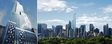 (From left) A vertical view rendering of the tower on NYC's West 57th Street/A rendering of One57 tower. (Rendering: Extell)