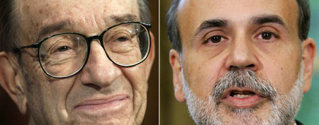(From left) Alan Greenspan is seen on March 15, 2005, and Ben Bernanke is seen in Oct. 24 2005. (AP Photo/Files)