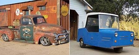 (L-R) 1952 Chevy Pickup ratrod, 1971 Kelsen Sports Rider EV (via Yahoo! Autos)
