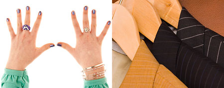 (L-R) Wild nail polish and jewelry, suit jackets (Thinkstock)