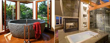 This soaking tub is carved from solid granite and weighs one ton. (Photo: Zillow)/A gas fireplace heats up this tub in the bedroom. (Photo: Zillow)