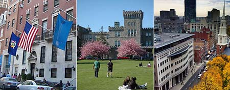 (From left) Marymount Manhattan College, Manhattanville College, Suffolk University (Photos via Yahoo! Real Estate)