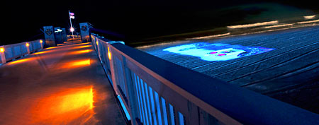 In this Nov. 18, 2011 photo, provided by Panama City Beach, shows a high-definition animated light show on the sands in Panama City Beach, Fla. (AP Photo/Panama City Beach, Romona Robbins)