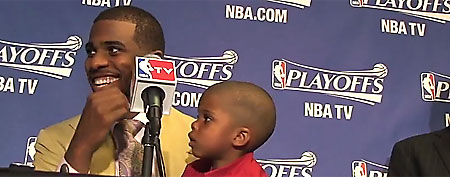 "Chris Paul Jr. shows off his ""Blake face."" (Screen grab courtesy of ThePostGame.com)"