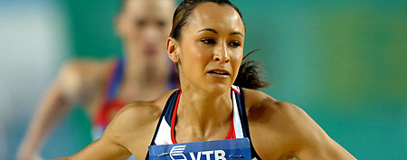 British track star Jessica Ennis is frustrated after an error wiped out her personal best in the 100m hurdles. (Kirby Lee/Image of Sport-US PRESSWIRE)