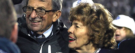 Joe Paterno's widow, Sue, will cash in on a gigantic state pension payout. (Getty Images))