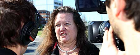 Gina Rinehart, chairman of Hancock Prospecting joins protesters as they rally against the government's proposed mining tax outside the Hyatt Regency Hotel where Prime Minister Kevin Rudd is to address the Perth Press Club on June 9, 2010 in Perth, Australia. (Paul Kane/Getty Images)