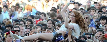 Music fans crowd surf during the 2011 Outside Lands Music and Arts Festival in San Francisco (Jeff Kravitz/FilmMagic)