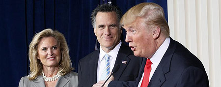 File photo: Businessman and real estate developer Donald Trump (R) endorses Republican presidential candidate and former Massachusetts Governor Mitt Romney's candidacy for president as Romney and his wife Ann look on at the Trump Hotel in Las Vegas, Nevada Feb. 2, 2012. (Reuters/Rick Wilking)