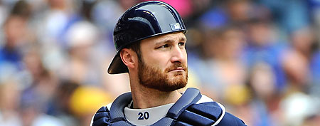 Wife's clumsy move injures Milwaukee Brewers catcher Jonathan Lucroy. (Benny Sieu/US Presswire)