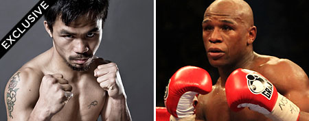 Left -Manny Pacquiao (Photo by Landry Major/Getty Images) and Floyd Mayweather Jr. (Photo by Jed Jacobsohn/Getty Images)
