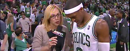 Boston's Rajon Rondo took a shot at the Miami Heat during a halftime interview with ESPN's Doris Burke.