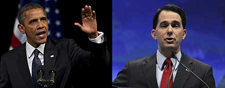 Barack Obama, left (AP Photo/Carolyn Kaster); Scott Walker, right (AP Photo/Michael Conroy)