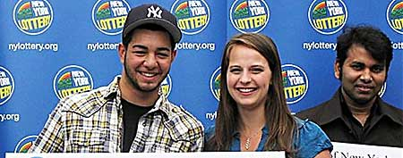 Robert Salo, left, poses for the New York Lottery (ABC News)