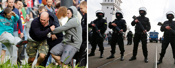 Fans clash prior to the Euro 2012 soccer championship Group A match between Poland and Russia in Warsaw on Tuesday (AP Photo/Gero Breloer); Polish police block a bridge outside the stadium where the match was played (AP Photo/Czarek Sokolowski).