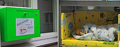 "Un ""babywiege"" o caja para abandonar bebés / Foto: Infobae"