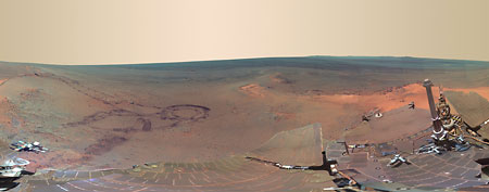 This full-circle scene combines 817 images taken by the panoramic camera (Pancam) on NASA's Mars Exploration Rover Opportunity on the planet Mars, as seen in this handout image from NASA received by Reuters July 7, 2012. (REUTERS/NASA/Handout)