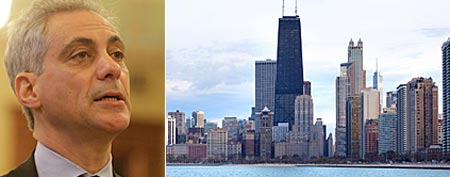 Mayor Rahm Emanuel (Seth Perlman/AP); Chicago (Thinkstock)