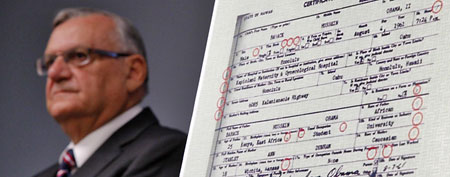 Maricopa County Sheriff Joe Arpaio says he has proof that President Obama's birth certificate, as presented by the White House in April 2011, is a forgery based on an investigation by his office. (AP Photo/Matt York)