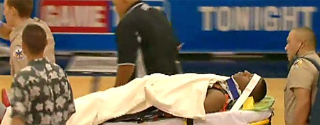 Former Duke guard Nolan Smith was rushed to the hospital after taking a nasty blow to the head. (Screen grab courtesy of Yahoo! Sports Minute)