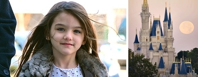 Suri Cruise (James Devaney/WireImage) dan Istana Cinderella (Getty Images)