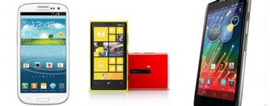 (L-R: Samsung Galaxy S III; Nokia Lumia 920; Motorola Droid Razr HD)