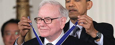 Warren Buffet and Barack Obama. Getty images