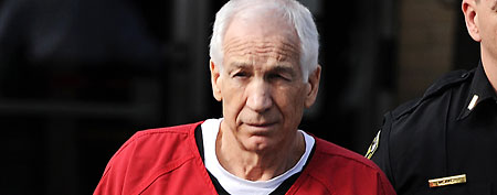 Jerry Sandusky was given an effective life sentence after being convicted on 45 counts related to molesting 10 boys over 15 years. (AP Photo/Gene J. Puskar)