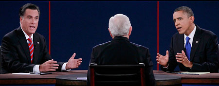 President Obama and Mitt Romney in their final presidential debate. (Reuters)