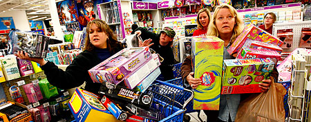 Why Black Friday is losing its meaning. In this photo: Shoppers brave Toys 'R' Us during Black Friday (Getty Images/file photo)