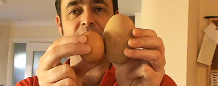 Man makes baffling discovery inside egg