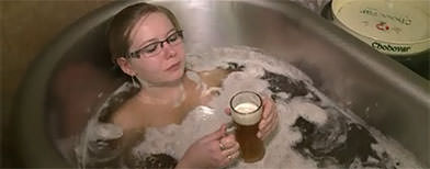 Why not drink your beer & soak in it too?