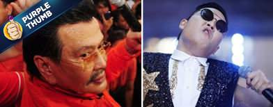 Erap polishing his 'Gangnam' moves